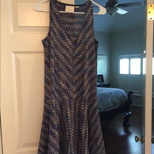 Anthropologie purple with blues dress with slip
